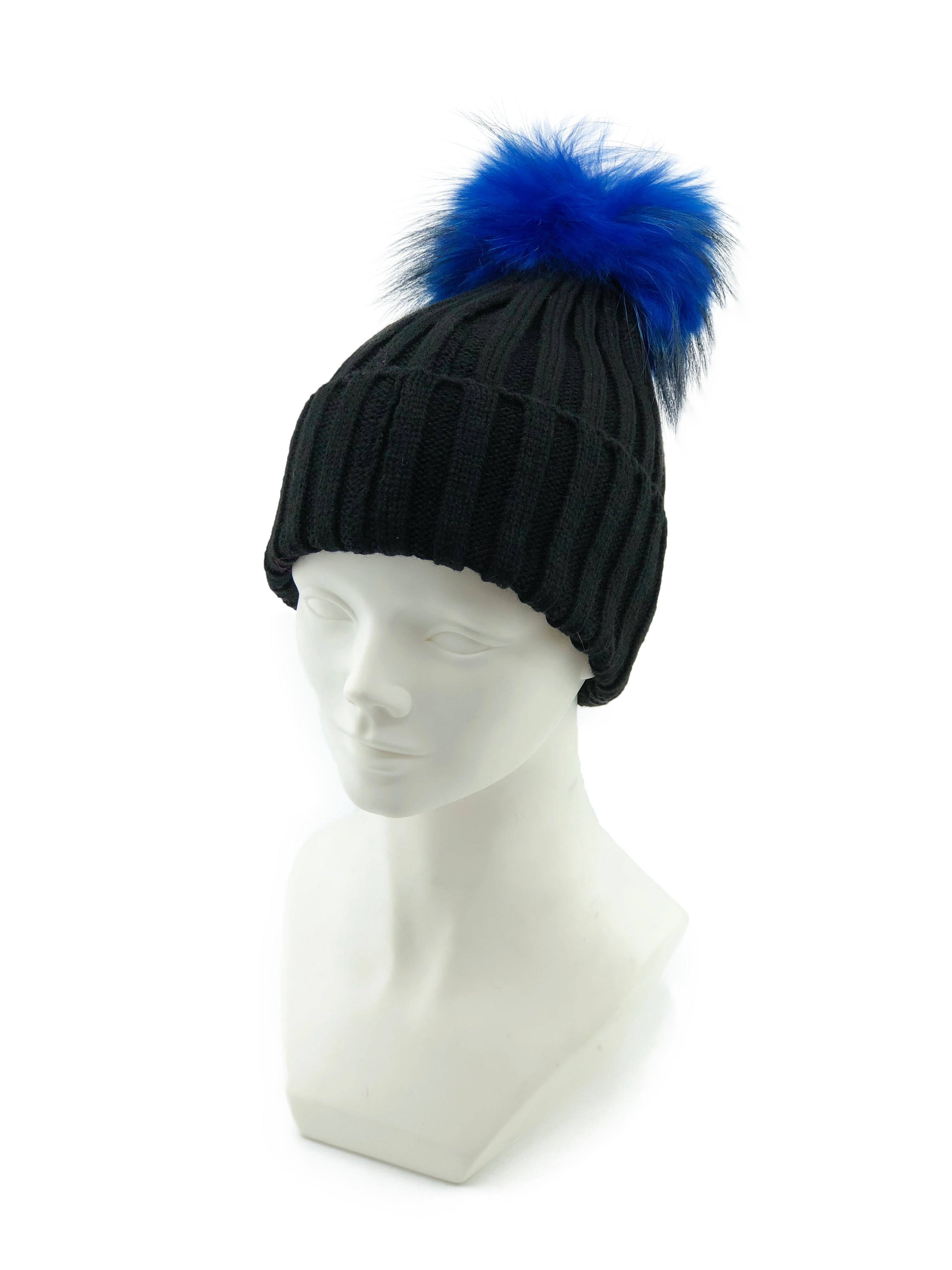 Knitted Beanie with Removable Dyed Fur Pom - paulamariecollection