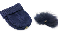 Cashmere Knitted Beanie with Removable Fur Pom - paulamariecollection