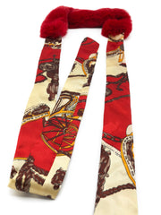 Red Rex Rabbit Scarf with Red/Gold Silk Ribbon - paulamariecollection