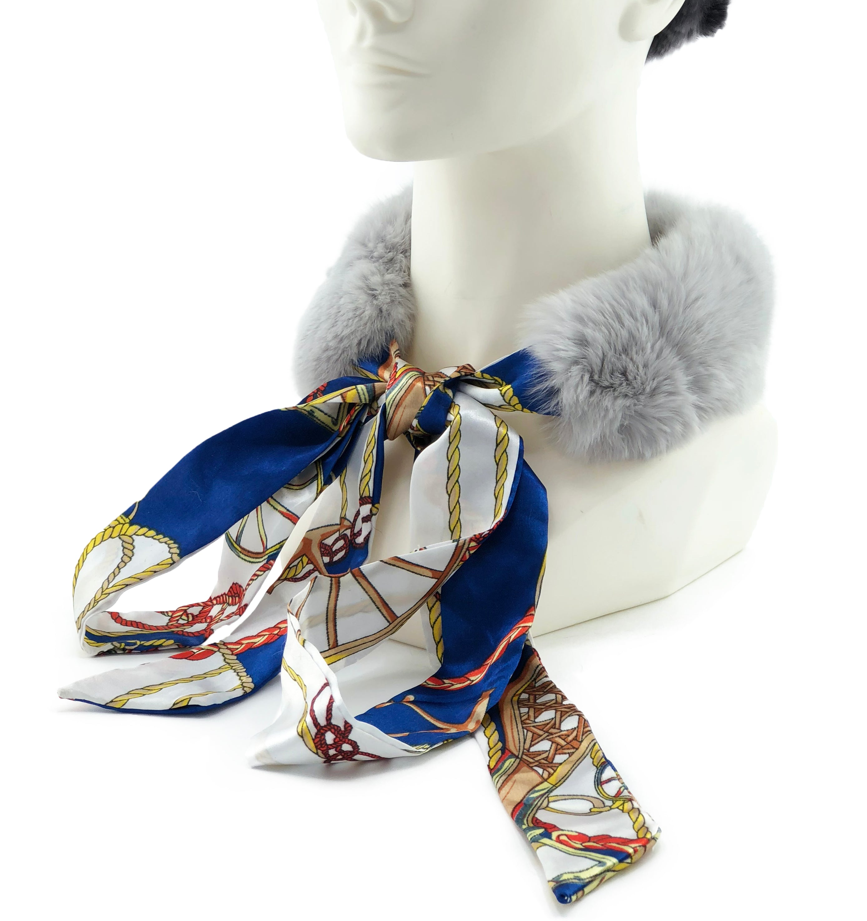 Grey Rex Rabbit Scarf with Blue/White Silk Ribbon - paulamariecollection