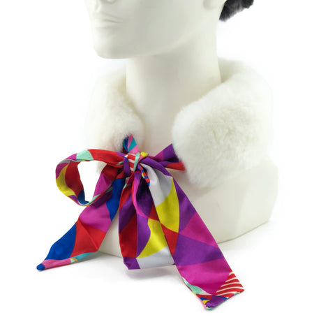 White Rex Rabbit Scarf with Multicolor Silk Ribbon - paulamariecollection