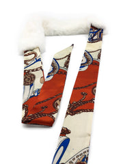 White Rex Rabbit Scarf with Orange/Gold Silk Ribbon - paulamarie