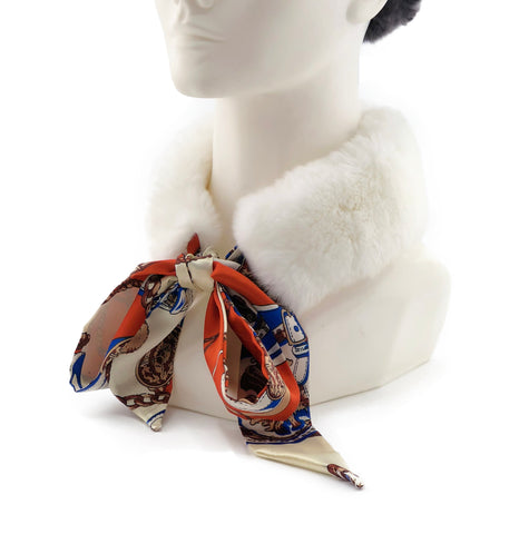 White Rex Rabbit Scarf with Orange/Gold Silk Ribbon - paulamariecollection