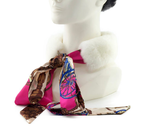 White Rex Rabbit Scarf with Pink/Gold Silk Ribbon - paulamariecollection