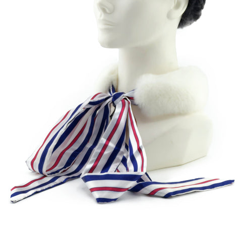 White Rex Rabbit Scarf with Red/White/Blue Silk Ribbon - paulamariecollection