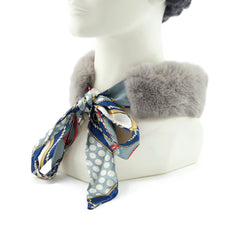 Grey Rex Rabbit Scarf with Blue/Grey Silk Ribbon - paulamariecollection