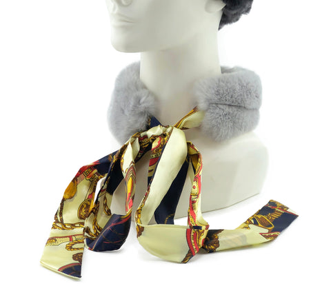Grey Rex Rabbit Scarf with Navy/Gold Silk Ribbon - paulamarie