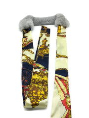 Grey Rex Rabbit Scarf with Navy/Gold Silk Ribbon - paulamariecollection
