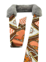 Grey Rex Rabbit Scarf with Orange/Brown Silk Ribbon - paulamariecollection