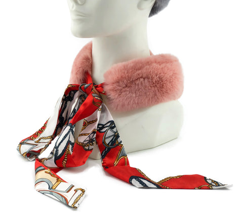 Rose Rex Rabbit Scarf with Red/White Silk Ribbon - paulamariecollection