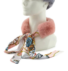 Rose Rex Rabbit Scarf with Pink/White Silk Ribbon - paulamariecollection