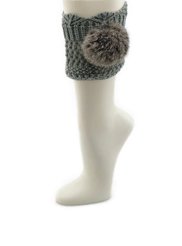 Grey Leg Warmer/Boot Cover with Rex Rabbit Pom - paulamariecollection