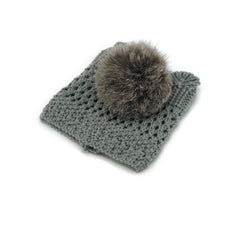 Grey Leg Warmer/Boot Cover with Rex Rabbit Pom - paulamarie