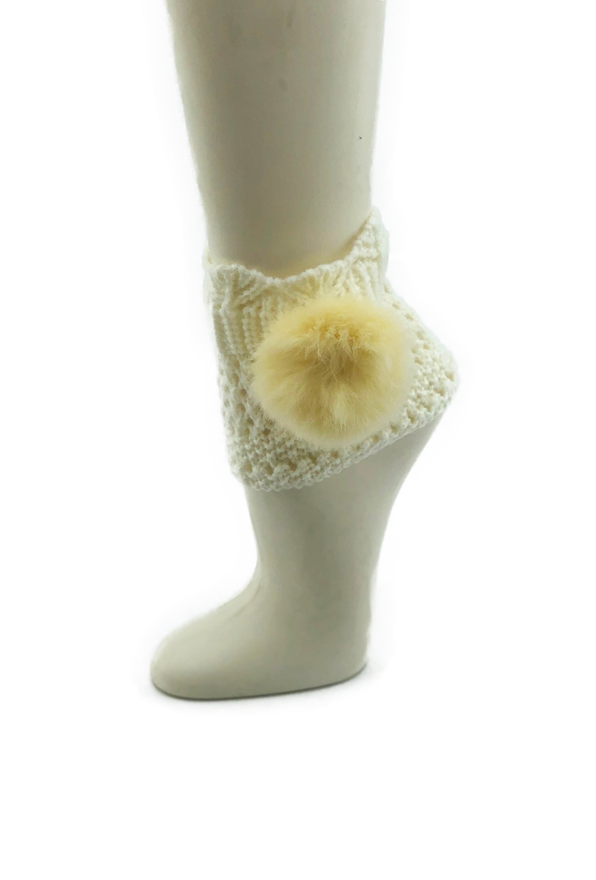 Off-White Leg Warmer/Boot Cover with Rex Rabbit Pom - paulamariecollection