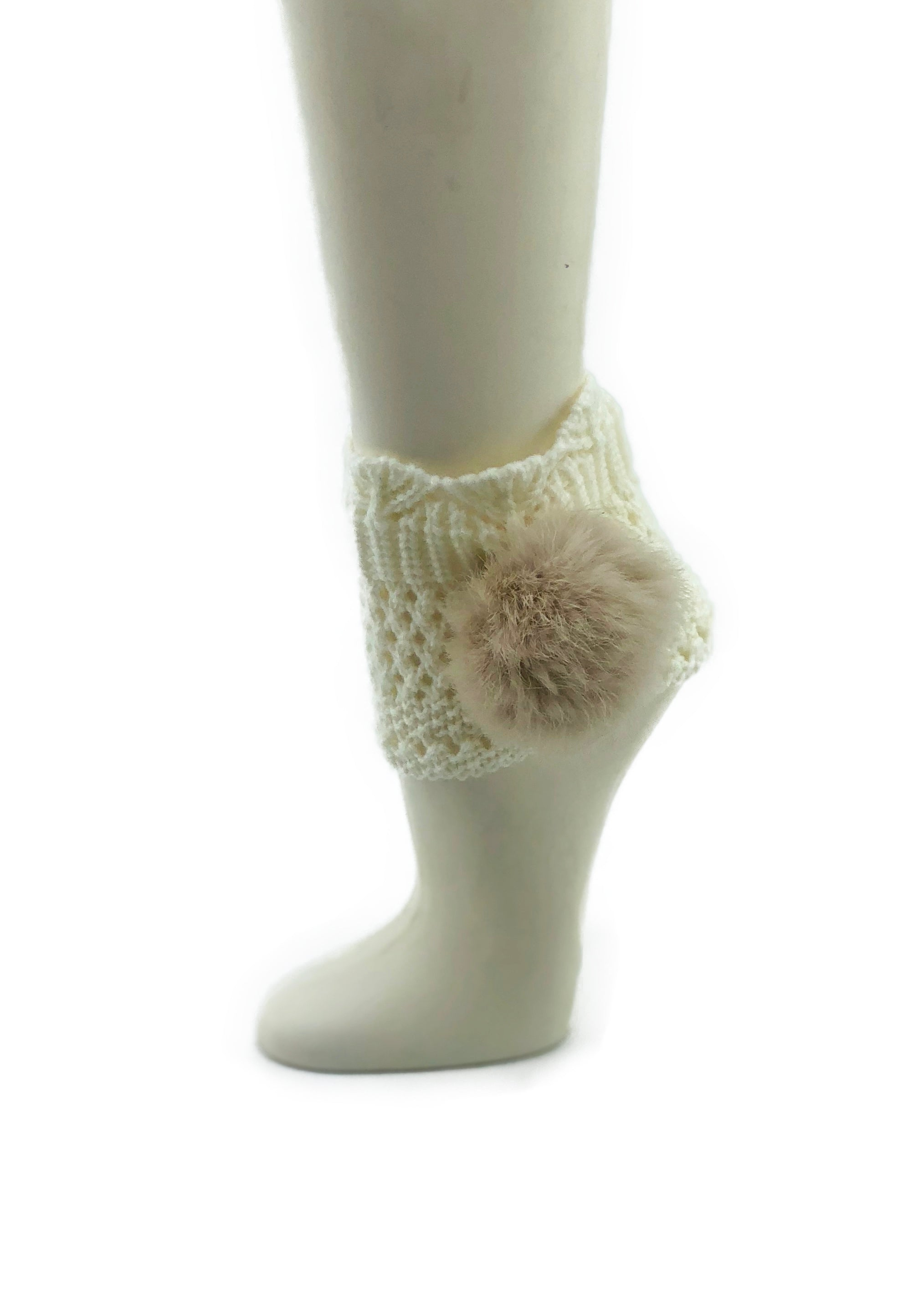Off-White Leg Warmer/Boot Cover with Rex Rabbit Pom - paulamarie