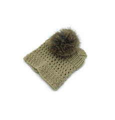 Beige Leg Warmer/Boot Cover with Rex Rabbit Pom - paulamariecollection
