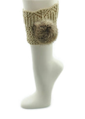 Beige Leg Warmer/Boot Cover with Rex Rabbit Pom - paulamarie