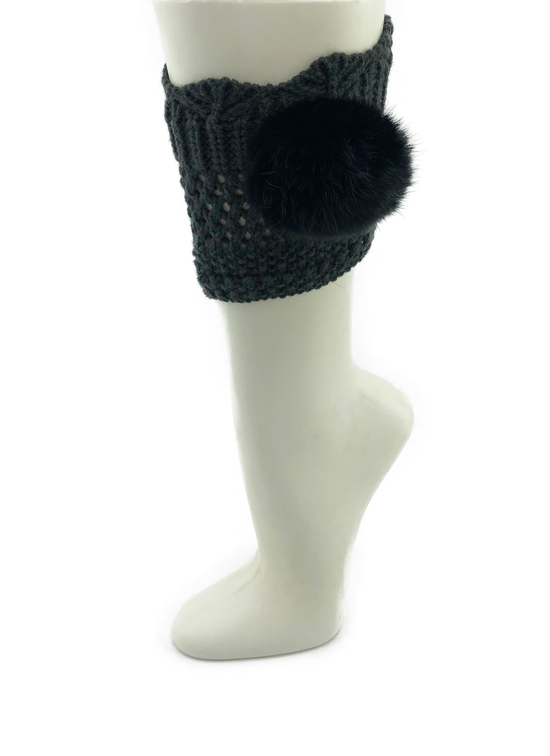 Dark Grey Leg Warmer/Boot Cover with Rex Rabbit Pom - paulamarie