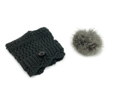 Dark Grey Leg Warmer/Boot Cover with Rex Rabbit Pom - paulamariecollection