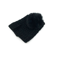 Black Leg Warmer/Boot Cover with Rex Rabbit Pom - paulamarie