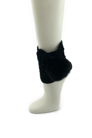 Black Leg Warmer/Boot Cover with Rex Rabbit Pom - paulamariecollection