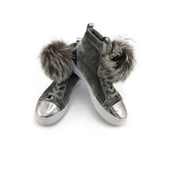 Silver Fox Fur Pom Pom Shoe Lace Bands - paulamarie
