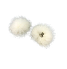 Fox Fur Pom Pom Shoe Clips - paulamarie