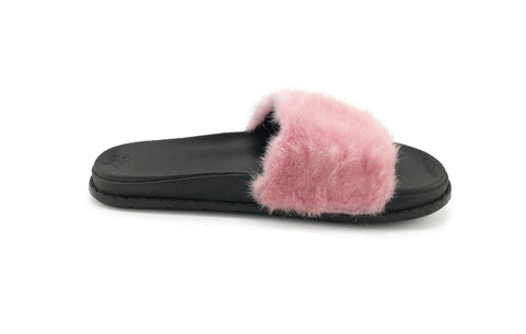 Pink Mink Fur Slides - paulamariecollection