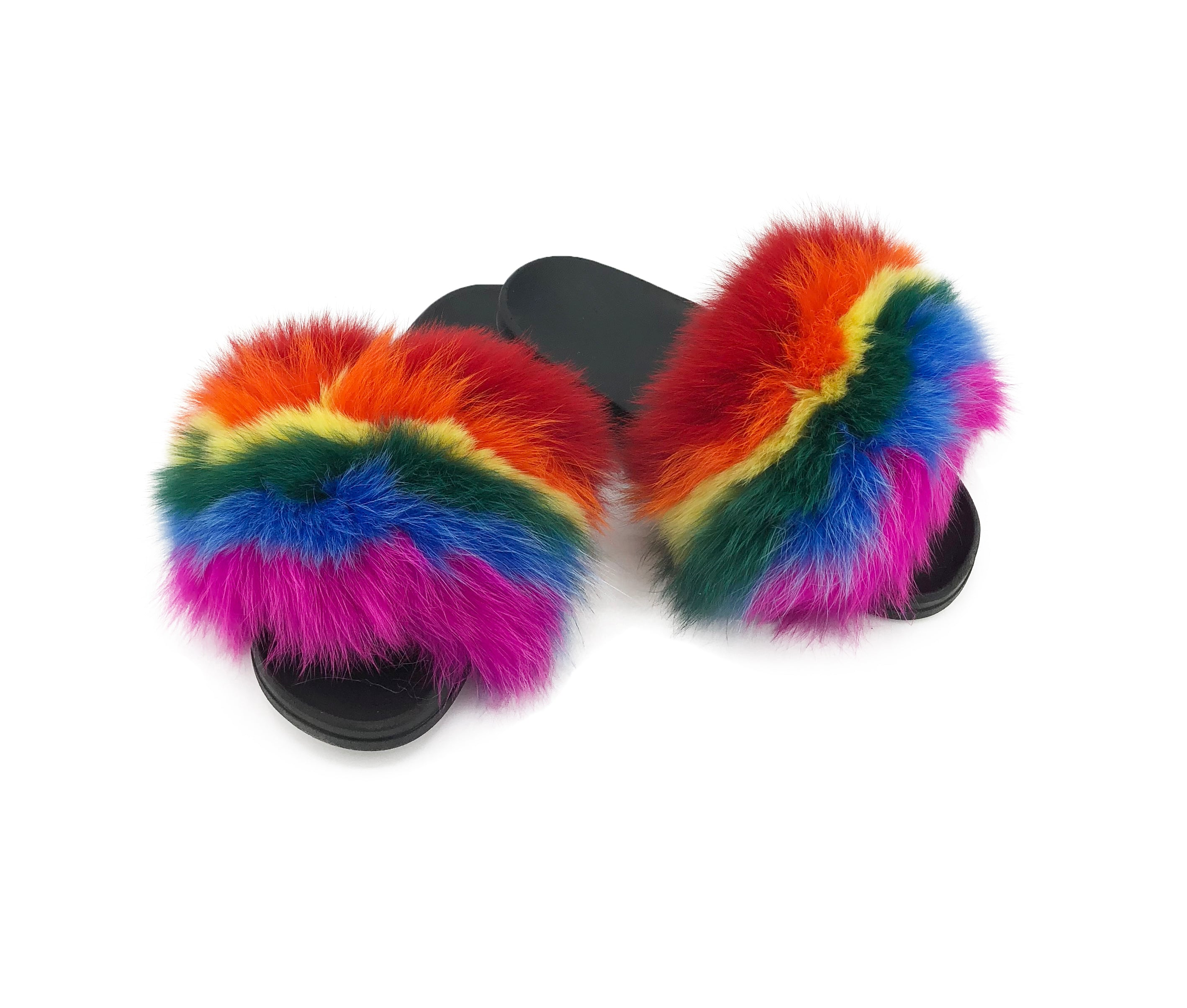 rainbow pride fox fur slides paulamarie