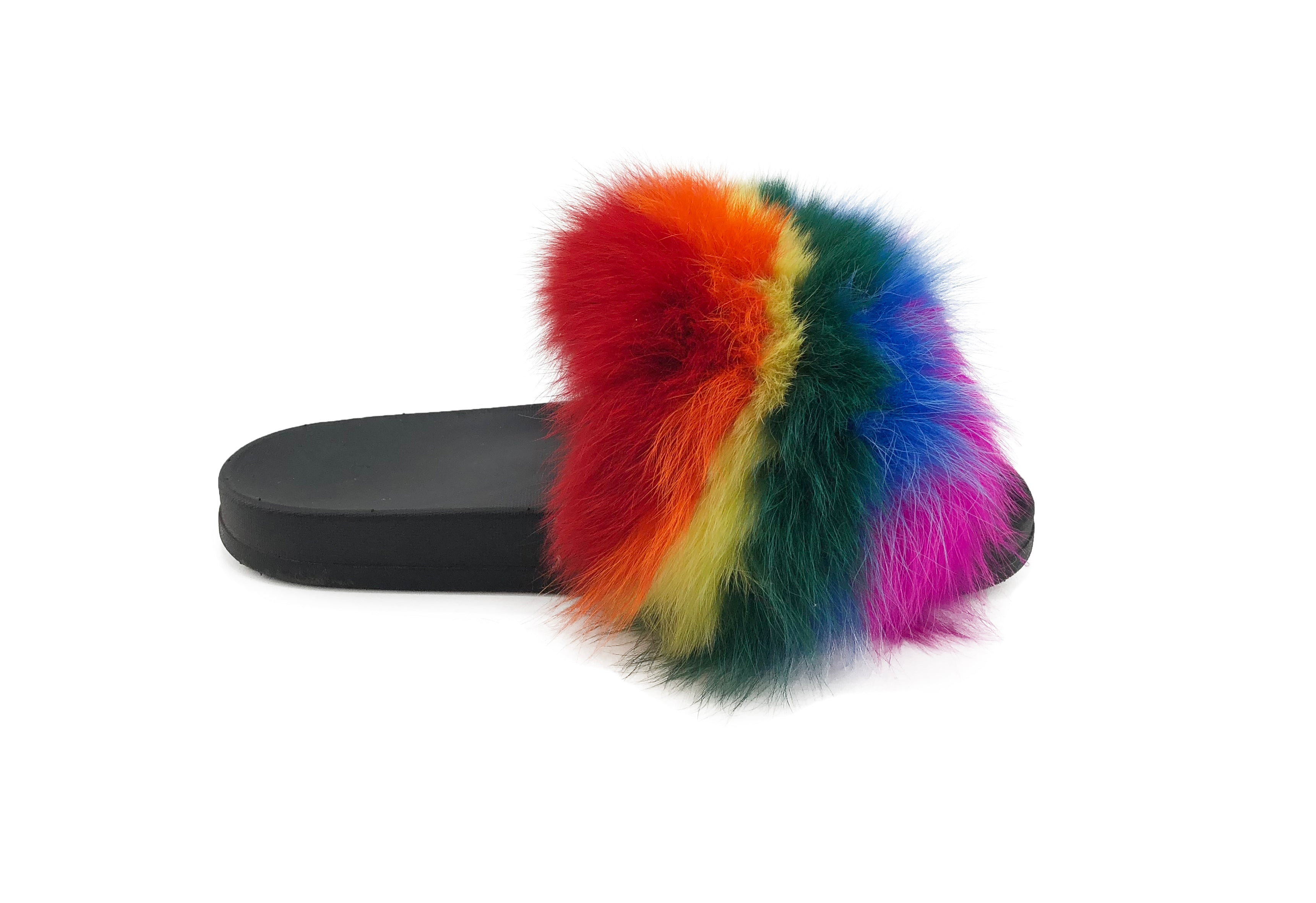 Rainbow Pride Fox Fur Slides - paulamariecollection