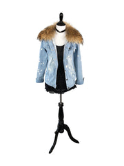 Denim and Fox Fur Jacket with Detachable Rabbit Fur Interior - paulamarie