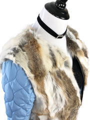 Denim and Fox Fur Jacket with Detachable Rabbit Fur Interior - paulamariecollection