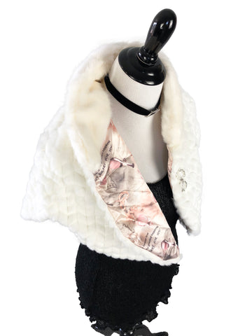 Faux Rabbit and Mink Fur Cape with Pink Design Interior - paulamarie