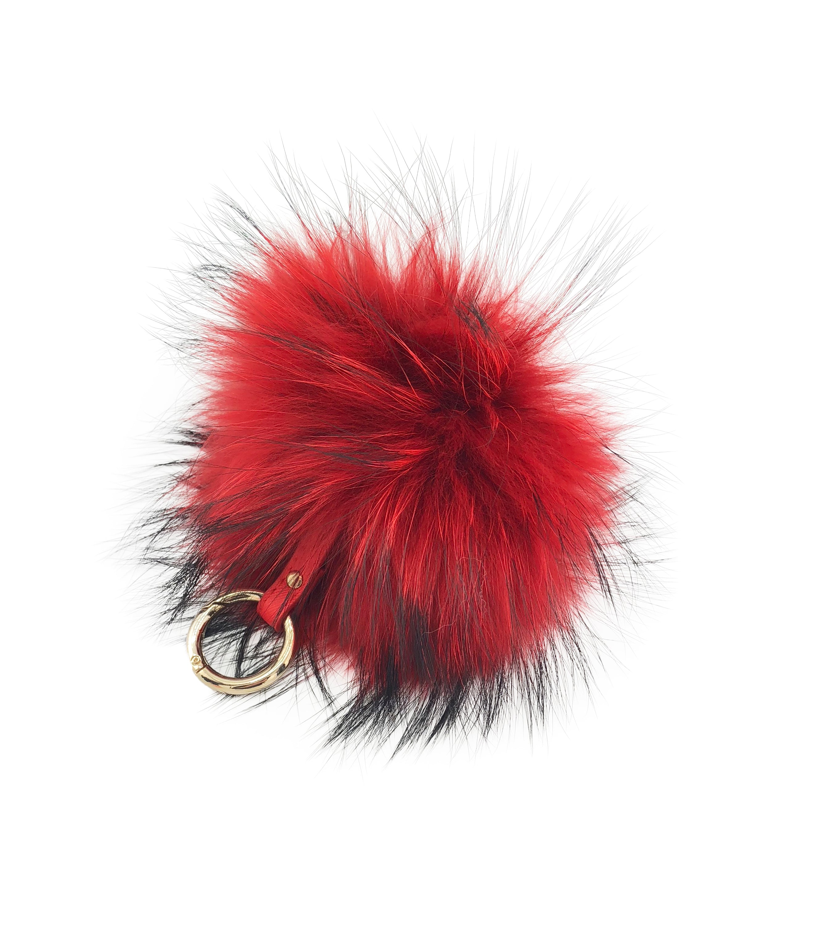 Fluffy Raccoon Fur Pom Keychain - paulamariecollection