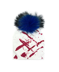 Paint Design Beanie with Raccoon Fur Pom - paulamarie