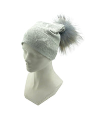 Paint Design Beanie with Raccoon Fur Pom - paulamariecollection