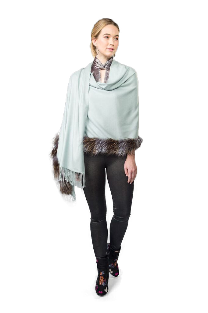 Silver Fox Trimmed Wrap with Fringe - paulamariecollection