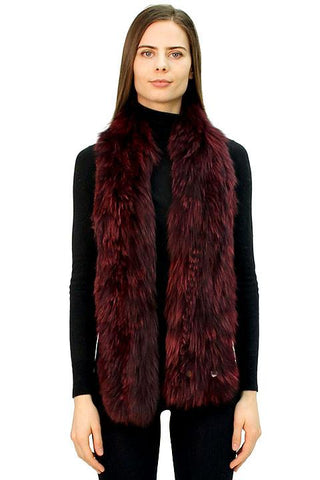 Knitted Fox Fur Scarf with Snap Closure - paulamarie