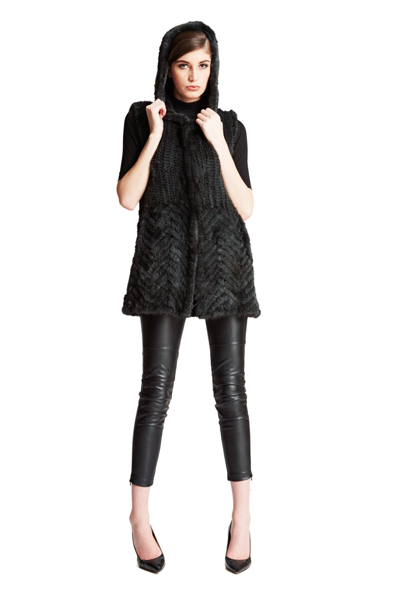 Knitted Mink Fur Vest with Chevron Panel and Hood - paulamarie
