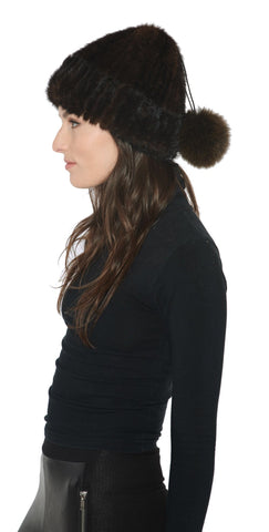 Knitted Mink Beanie with Adjustable Hanging Pom - paulamarie