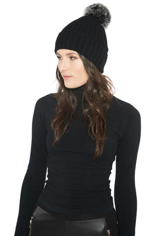 Cashmere Knitted Beanie with Removable Fur Pom - paulamarie