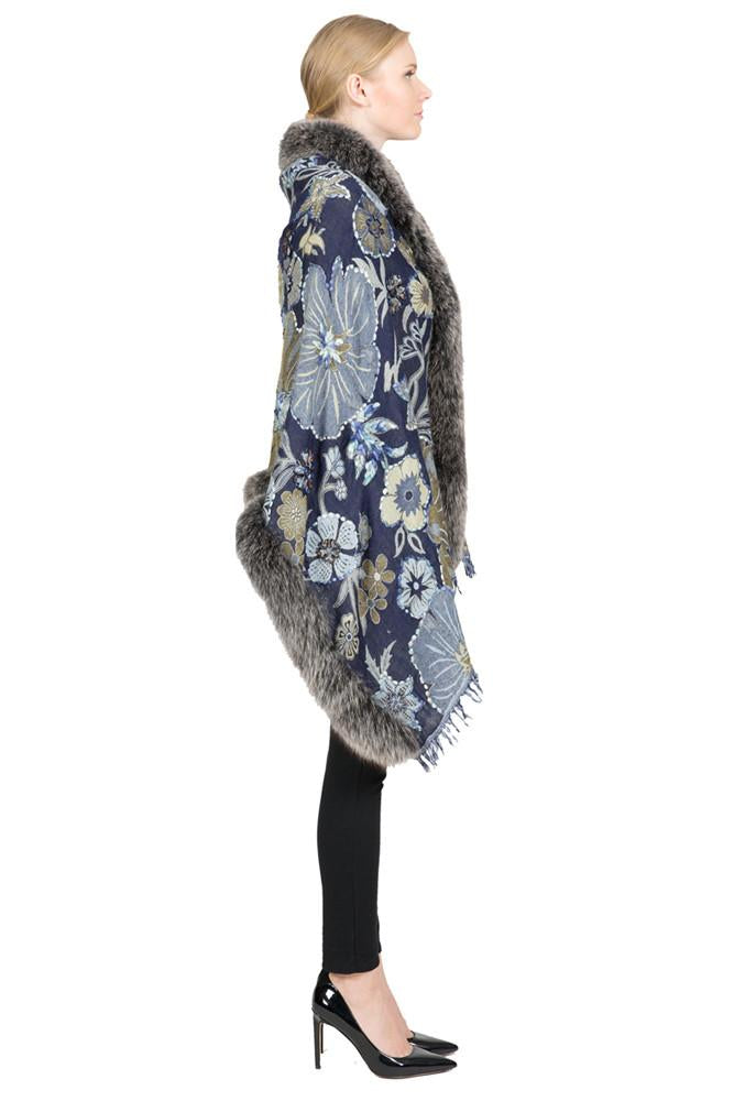 THE ROTZ Wool Wrap with Silver Fox Fur Trim - paulamariecollection