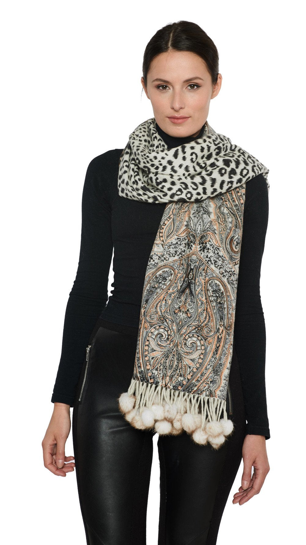 THE RYE Cashmere Reversible Paisley Wrap with Mink Fur Poms - paulamariecollection