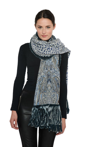 THE SALFORD Cashmere Reversible Printed Wrap with Rex Rabbit Fringe - paulamariecollection
