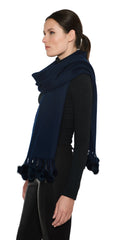 THE ZELL Cashmere Scarf with Mink Fur Poms - paulamarie