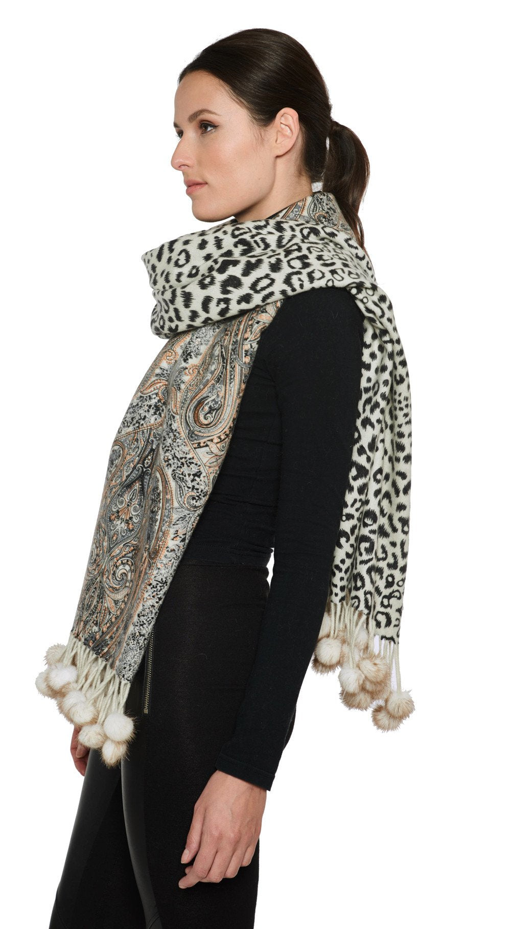 THE RYE Cashmere Reversible Paisley Wrap with Mink Fur Poms - paulamarie