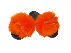 Fox Fur Slides with Gold Chains - paulamarie