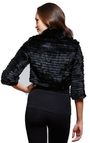THE CHELSEA Short Cropped Layered Rex Rabbit Bolero - paulamariecollection