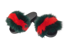 Striped Fox Fur Slides - paulamarie