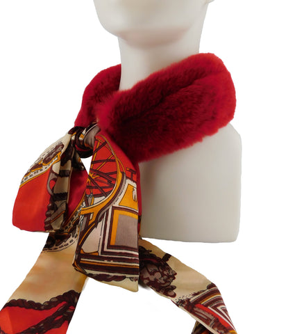 Red Rex Rabbit Scarf with Red/Gold Silk Ribbon - paulamarie